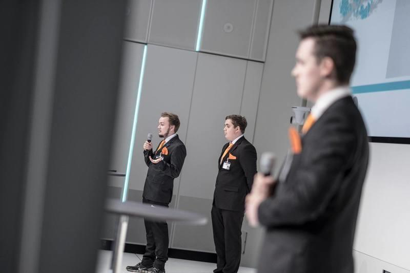 Presenting for a room of hundreds of people. Jonathan, Rasmus and Daniel.